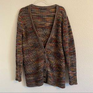Peruvian Connection rainbow knit cardigan XL